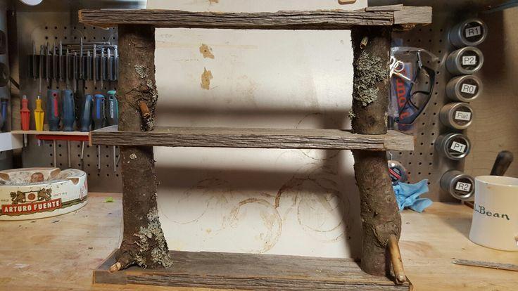 Live edgae and barn board knick knack shelf.