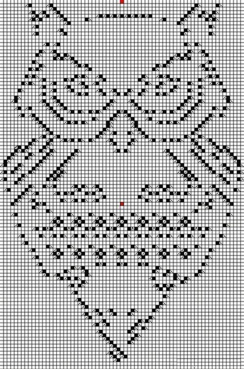 Схема ажурного узора сова