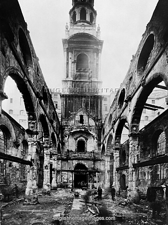 Remains of St Brides Church, after Nazi attack 1941 London -St Bride's Church was rebuilt to the designs of Sir Christopher Wren following the Great Fire of London. A fire bomb fell on the night of 29th December 1940 which pierced the roof and gutted the interior. This shows the remains of the church in March 1941, photographed by Bedford Lemere. Rebuilding began in 1953 using Wren's surviving walls, it was rededicated in 1957 and it is still in use.