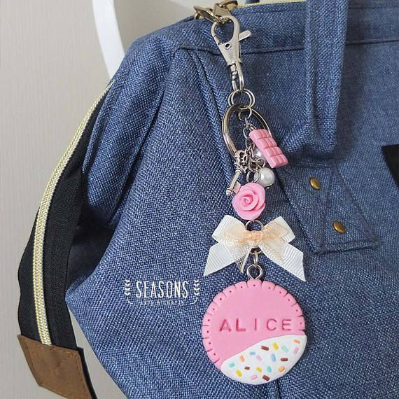 Biscuit Keychain - Biscuit Name Tag Bagcharm - Gift for Sister - Gift for Her - Gift for Daughter - Gift for Best Friend - Customize Gift