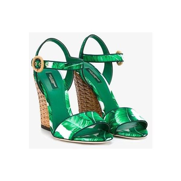 Dolce & Gabbana 'Keira' Sandals ($1,385) ❤ liked on Polyvore featuring shoes, sandals, green high heel shoes, ankle tie sandals, chunky high heel sandals, chunky-heel sandals and dolce gabbana sandals