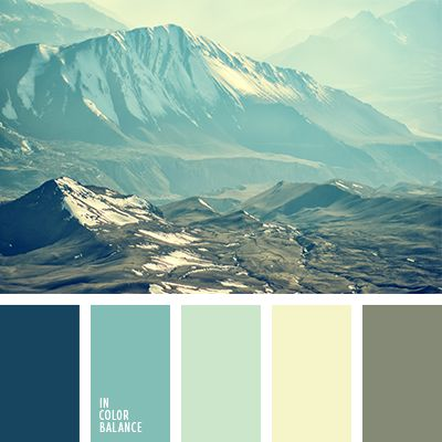 Turquoise, emerald, menthol, gray-blue shades, diluted whitish-yellow color in the palette look sublime and spiritually. In coldish shades clearly felt the acuteness and freshness inherent sharp mind and clarity of perception of the world. The presence of creamy vanilla notes brings cordiality and warmth.  By using this palette can be used in different variations interior design projects kitchen cabinets educational institutions and libraries.