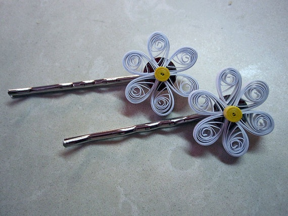 Quilled White Flower Hair Bobby Pins Clip Set of by GrandFinaleArt, $6.00