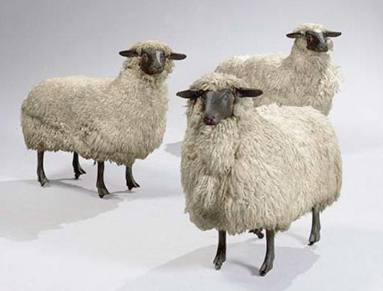 Fluffy Life Sized Sheep Sculpture Under 3000