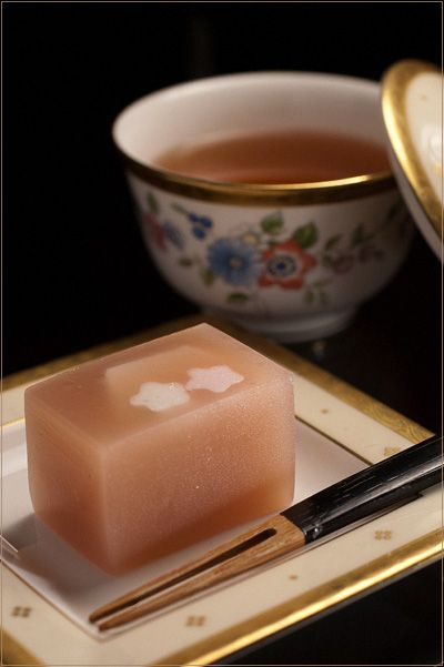 Uiro - (a chewy steamed cake made from rice flour and sugar) stylish japanese food