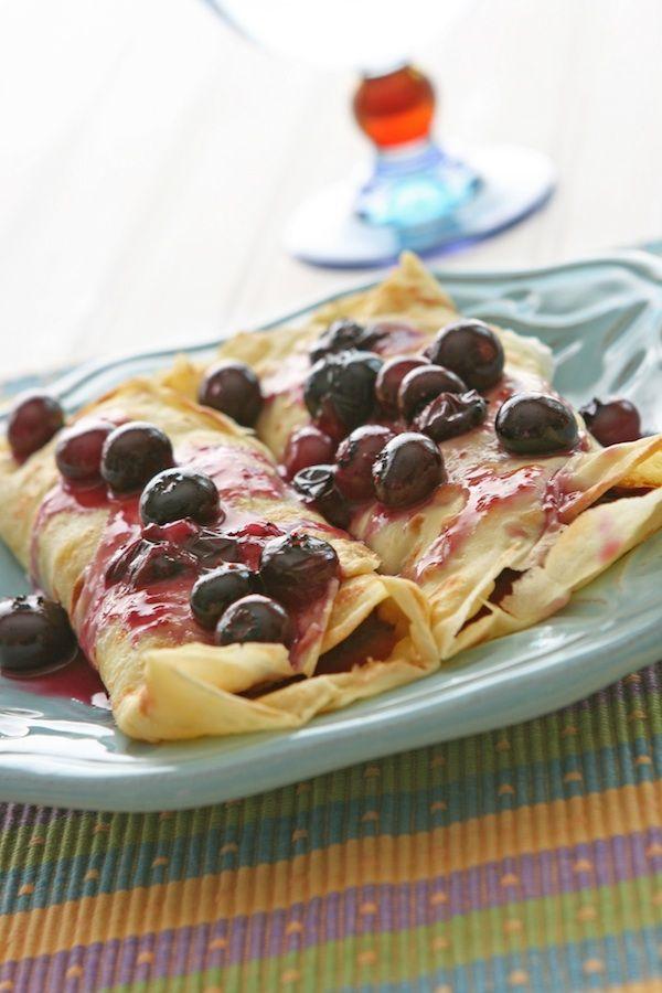Blueberry Crepes ~~ Flour+eggs+almond milk or regular milk)+water+butter+blueberries