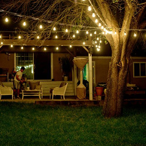 SHINE HAI Outdoor String Lights With 24 Dropped Sockets Bulbs Included)  Weatherproof Commercial Grade String Lights Perfect For Patio Lights Party  Lights ...