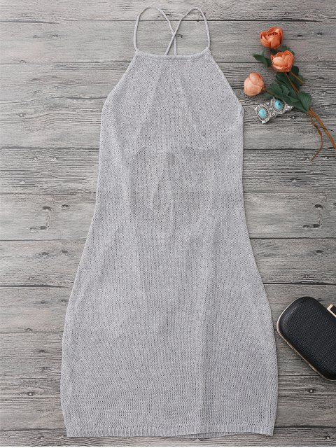 Strappy Apron Neck Beach Cover Up Dress - SILVER GRAY ONE SIZE