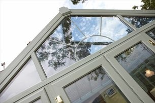 REHAU uPVC Conservatory Chartwell Green (external) from GRM Windows, South Wales.