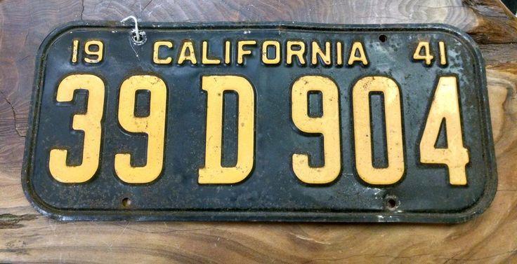 Pair Of Vintage California License Plates 1941