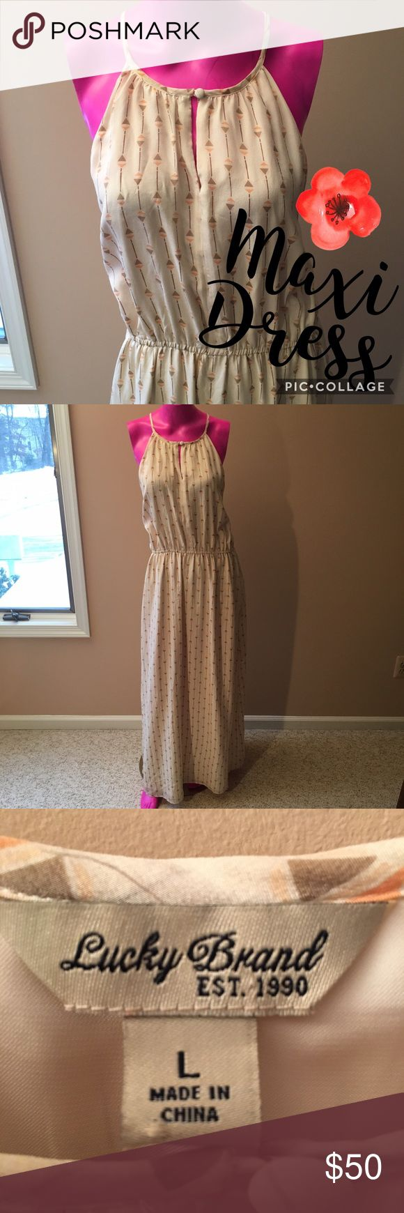 LUCKY BRAND Maxi Dress Off-white spaghetti strap racerback maxi dress with tribal-like triangle print in light orange, olive, pale pink & brown as seen in photo #4. Perfect condition, like new. Beautiful for a beach vacation or a night out in the spring or summer! Lucky Brand Dresses Maxi