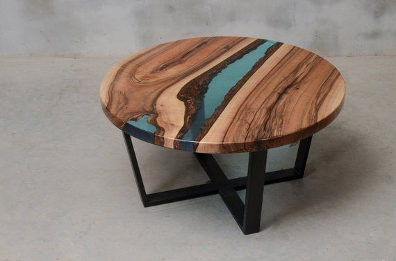 Round Resin Coffee Table Blue Epoxy End Table Made European