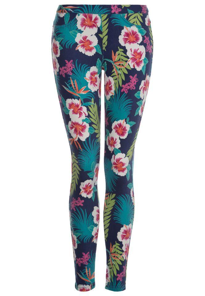 HUE Damen Jeans Leggings Jeggings USA Hibiscus Hawaii Bumen Print NEU