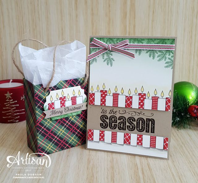 Christmas card and gift bag sorted with the Merry patterns stamp set and Christmas Around the World DSP! - Paula Dobson #pauladobson #stampinantics #merrypatternsstampset #artisandesignteam