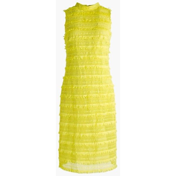 J.Crew Sheath Dress ($185) ❤ liked on Polyvore featuring dresses, petite, petite sheath dress, slimming summer dresses, yellow lace dress, open back lace dress and yellow sheath dress