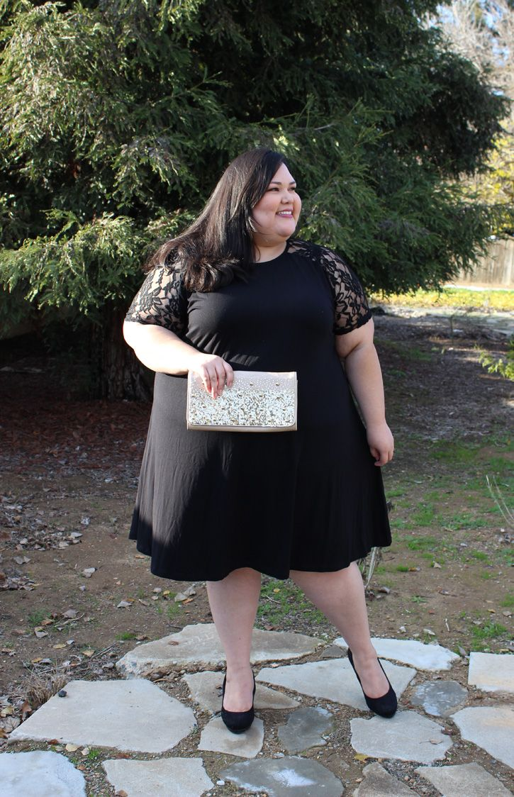 ASOS Curve plus size swing dress with lace sleeves