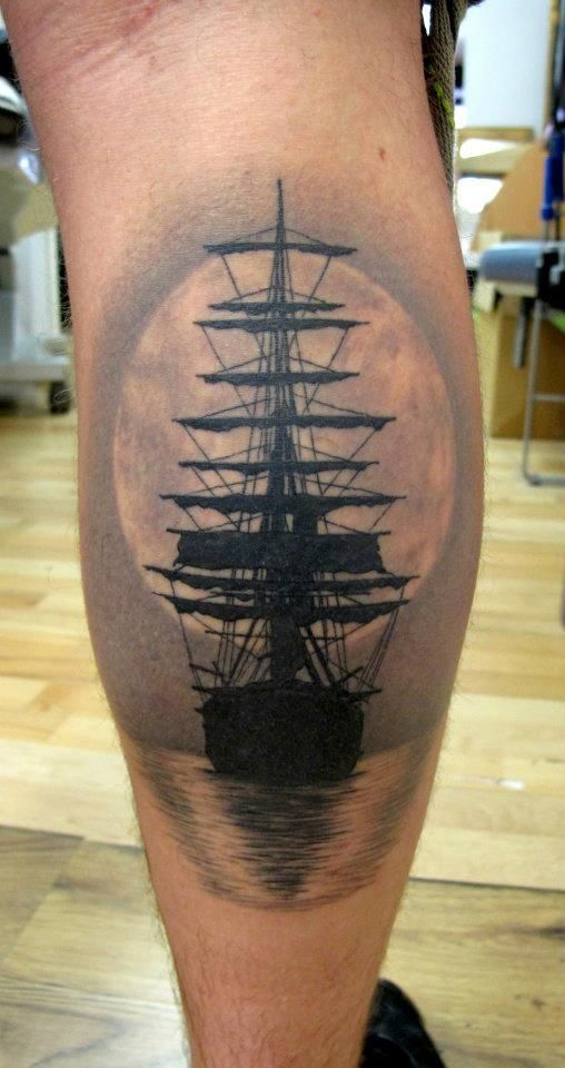 Ship tattoo, water, moon                                                                                                                                                                                 More