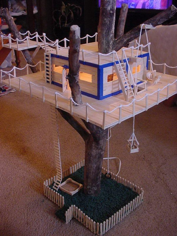 Popsicle Stick Tree House - Homemade Popsicle Stick House Designs, http://hative.com/homemade-popsicle-stick-house-designs/,