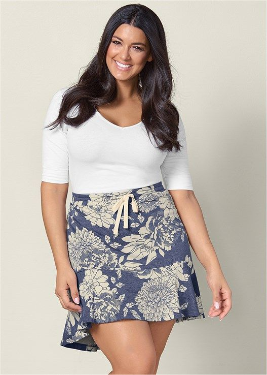 f2267678956 Find comfort in this flounce lounge skirt. Tie at front with slight high  low hem creates comfort in this everyday style.