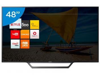 """Smart TV LED 48"""" Sony Full HD KDL-48W655D - Conversor Digital Wi-Fi 2 HDMI 2 USB DLNA AQUI NO MAGALU A FESTA CONTINUA, E PARA VOCÊ, UM SHOW DE OFERTAS de R$ 3.199,00 por R$ 2.499,90   em até 10x de R$ 249,99 sem juros no cartão de crédito Bivolt 40"""" 48"""" Bivolt 32"""" Bivolt"""