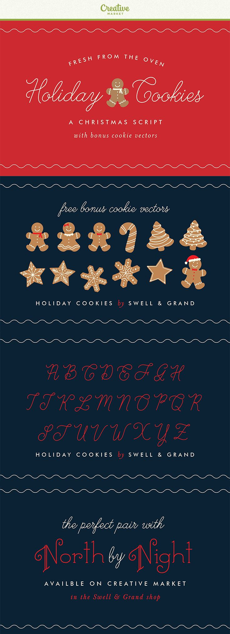 Holiday Cookies is an icing inspired Christmas script, perfect for gingerbread houses and hot cocoa.Holiday Cookies is suitable for Christmas cards, wedding invitations, branding, stationery, blog design, custom art, custom stamps, custom embossers, or any design purpose. You can use it for your personal use, or for a commercial project. #affiliate
