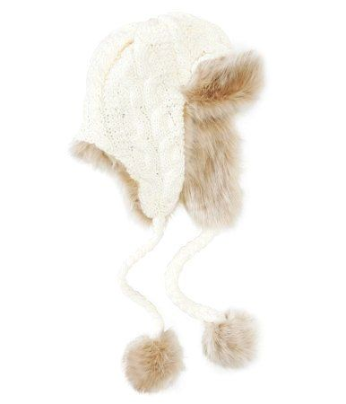 64065a01ba2 Cable Knit Trapper Hat - White Fur Hat For Women