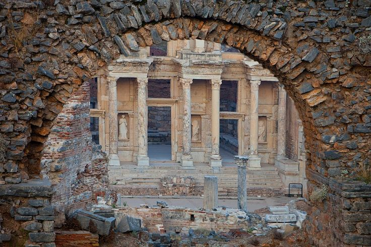 The Celsus Library seen through an ancient arch, Ephesus, Turkey