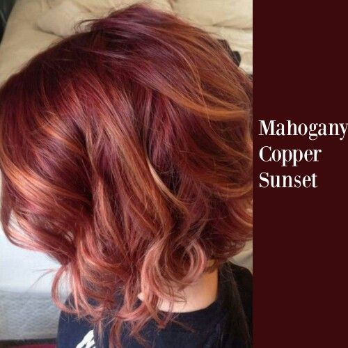 mahogany copper sunset hair colors in 2019 bob hair