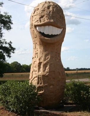 This 13-foot smiling peanut in Georgia helped Jimmy Carter win the 1976 presidential election.