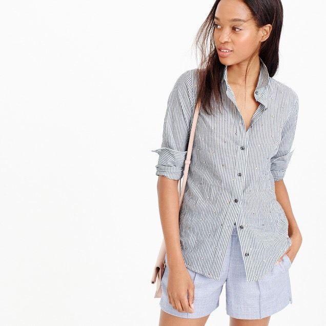J Crew 6 Perfect Shirt Striped Jewel Embellished Long Sleeves | eBay