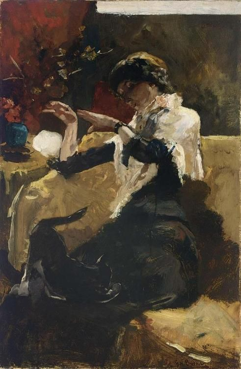 Dame met kat / A lady with a cat, George Hendrik Breitner. Dutch (1857 - 1923)