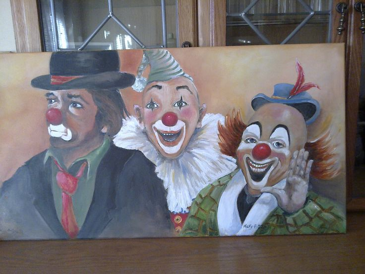 Oil painting of 'The ringmaster and his razzle dazzle clowns'. By myself