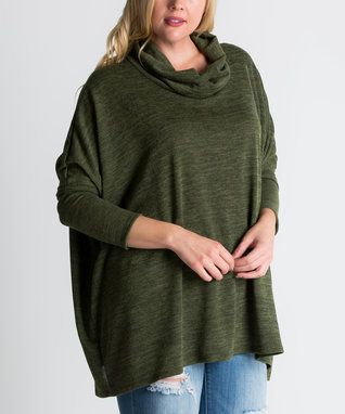 Olive Heather Cowl Neck Sweater - Plus