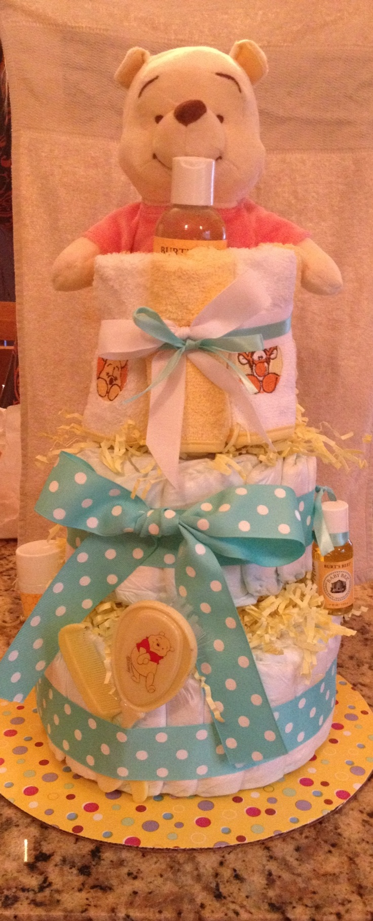 Winnie the pooh baby shower centerpiece ideas 48pc baby shower winnie - Winnie The Pooh Diaper Cake Love The Burt S Bees Products With It Find This Pin And More On Baby Shower Ideas