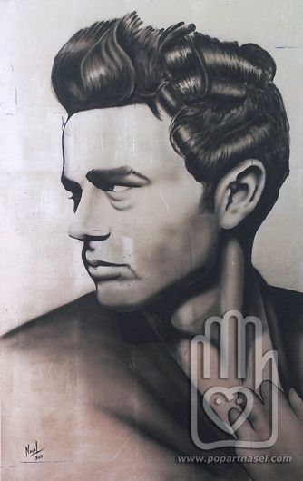 Silver James Dean portrait original by Nasel. Acrylic on canvas & silver leaves. 73x116cm. Available on digital reproduction. Check prices and sizes www.popartnasel.com #james #dean #portrait #pop #art