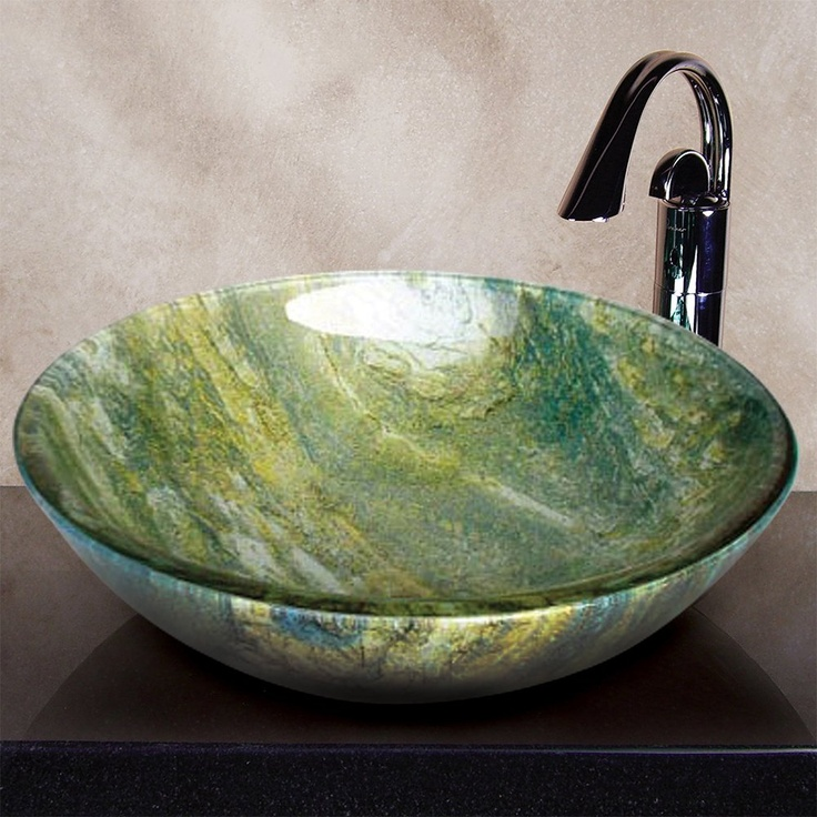 Yosemite Home Decor Angelie Ocean Green Round Glass Basin Vessel Sink Multi Colored Polished