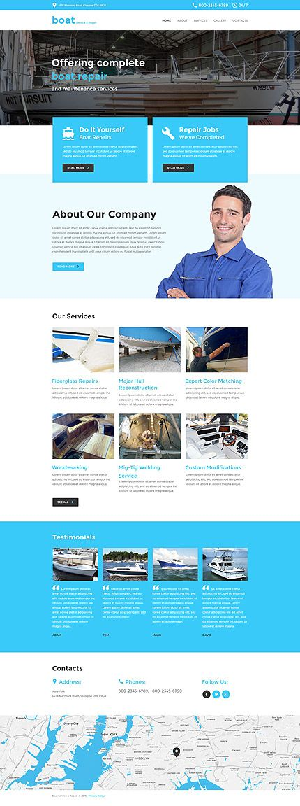 Boat Service & Repair #website #template. #themes #business #responsive #websitethemes
