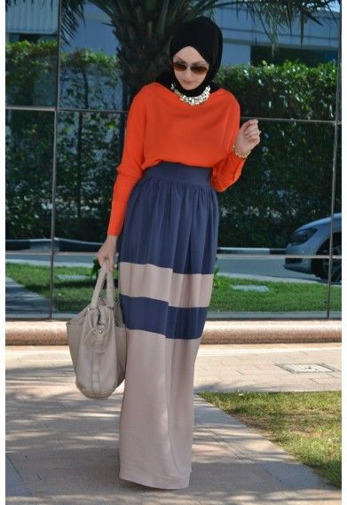 orange top blue brown skirt - awesome color combo!
