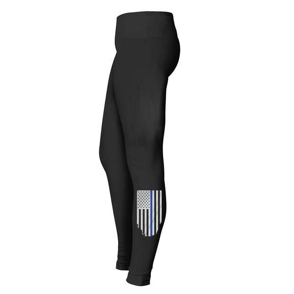 6.5 oz., 90/10 cotton/spandex Elastic waistband Full-length legging Proudly support law enforcement Show your support for law enforcement with these stylish Thi