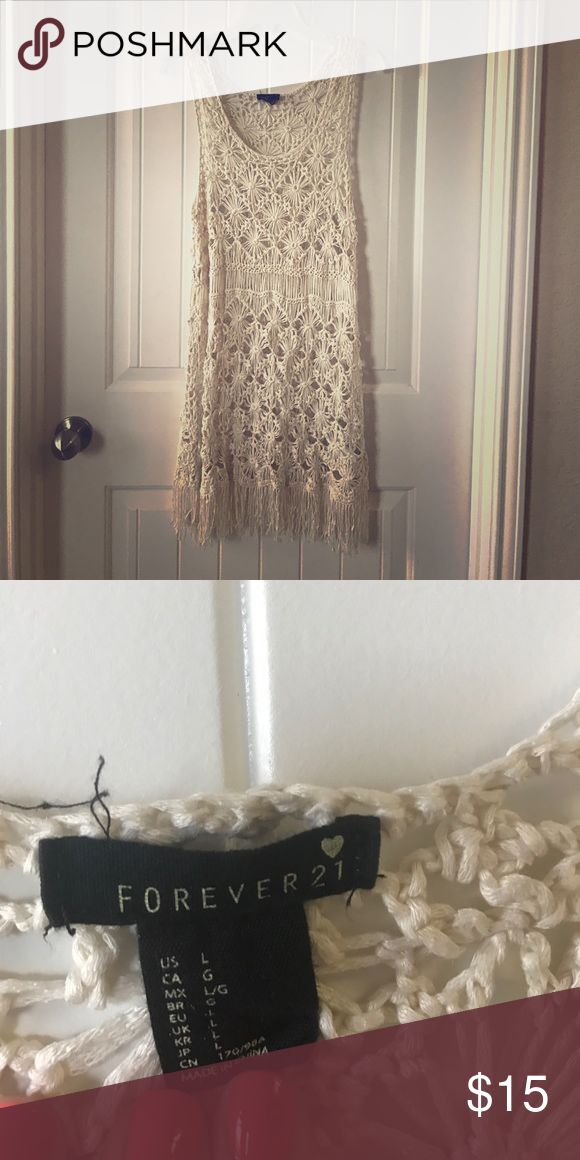 Forever 21 Lace Swimsuit Cover Up Worn a handful of times. Lace swimsuit cover up! Very cute and sassy, great for Summer! 💃🏽 Forever 21 Swim Coverups