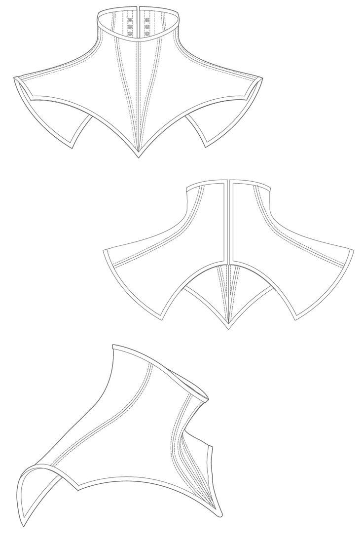 Volante Neck corset - black neck corset sewing pattern by Ralph Pink
