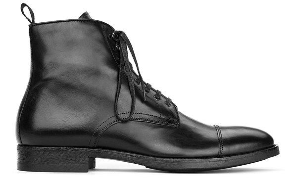 b5cd93fdcb3 Handmade men black cap toe lace up military ankle leather boot, Men ...