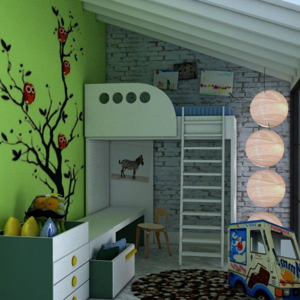 A sweet loft can be transformed to a cute kid room! Warm green follows whites and grays and creates a background for the fabulous owl-tree! This is a room created by Picassobaby.gr.