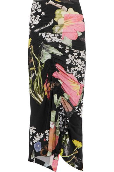 Preen by Thornton Bregazzi - Lennox Ruched Floral-print Stretch-crepe Midi Skirt - Black - x small