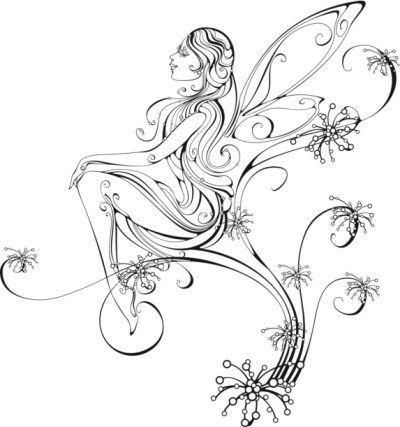 black and white tattoo designs fairies tattoo fairies and tattoos and body art. Black Bedroom Furniture Sets. Home Design Ideas