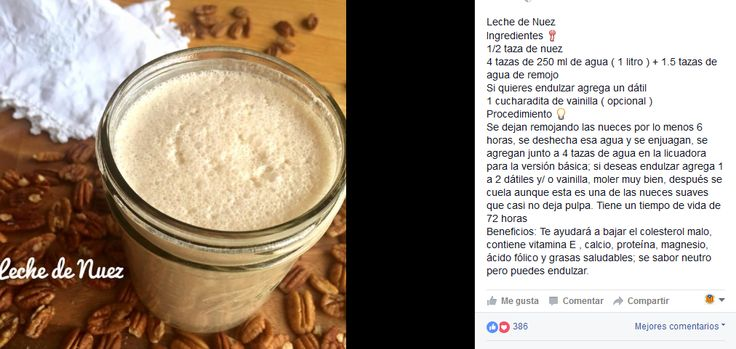 Lechada de nuez pecana / leche vegetal