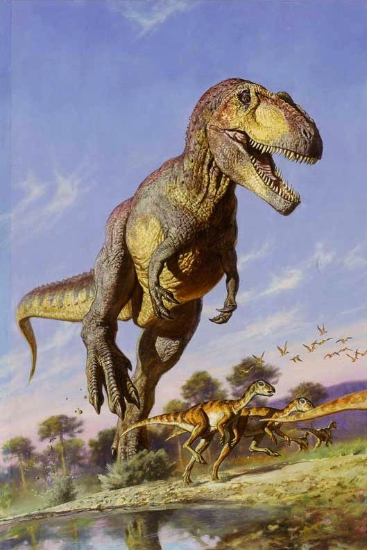 Tyrannosaurus; Late Cretaceous (67 - 66 Ma); Theropod; Discovered by Barnum Brown, 1900-1902; Described by Osborn 1905; Artwork by James Gurney