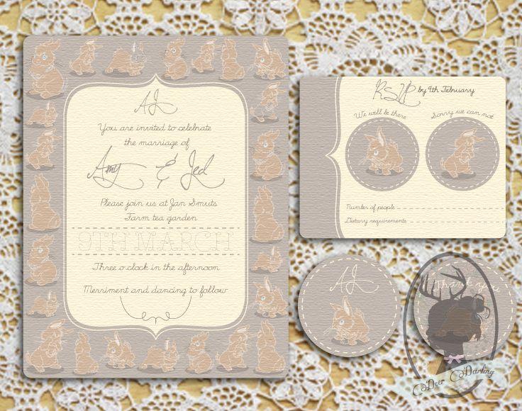 Wedding Invitation | Thumper Illustration | Stationery Set | www.deerdarling.co.za