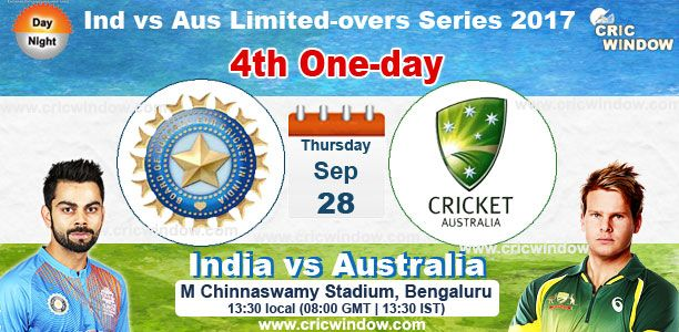 4th ODI : India vs Australia from Bangalore Live Action https://www.cricwindow.com/cricket-live-match-video.html