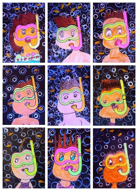 3rd Grade:  Snorkeling/ Swimming Self-Portraits, Printmaking, Mixed Media.